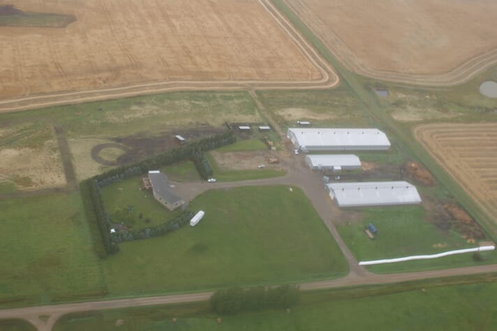 a birds-eye view of a farm