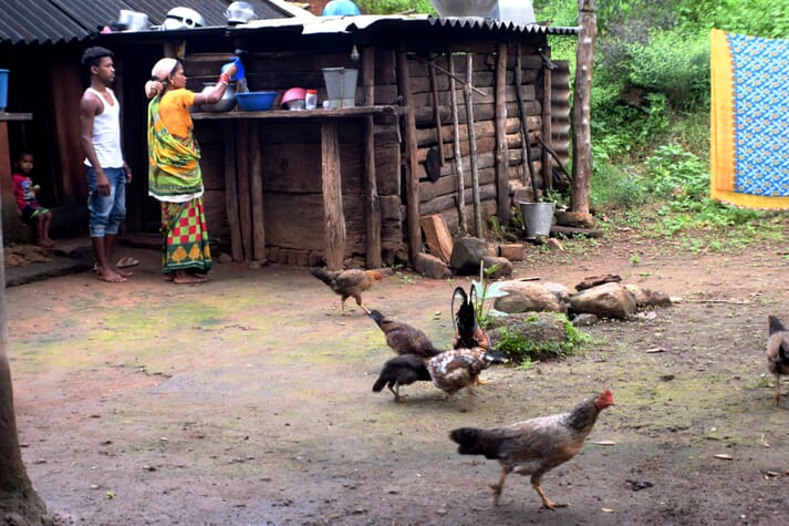 two villagers stand outside a wooden hut with chickens in the yard pecking