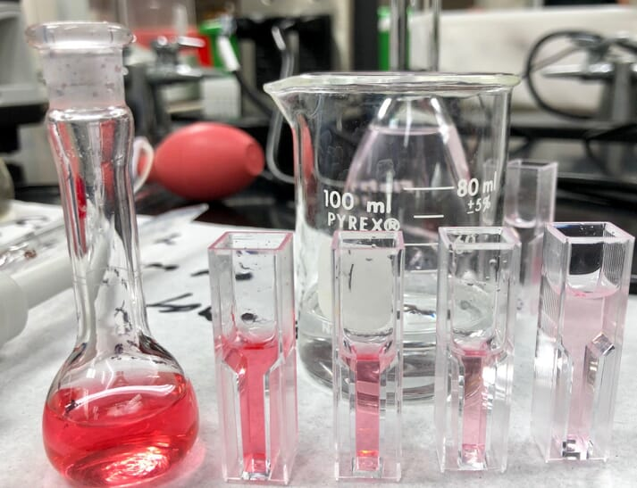 pink liquid in glass vials