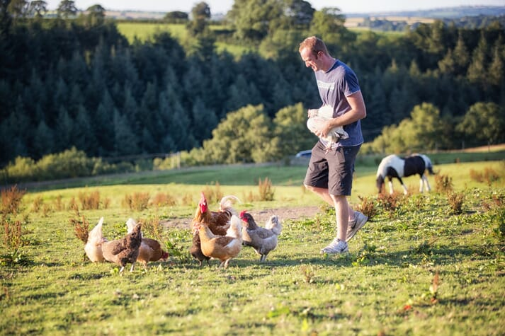 farmer with free range chickens
