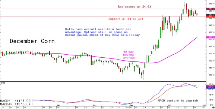 Bulls have overall near-term technical advantage. Uptrend still in place as market pauses ahead of key USDA data Friday