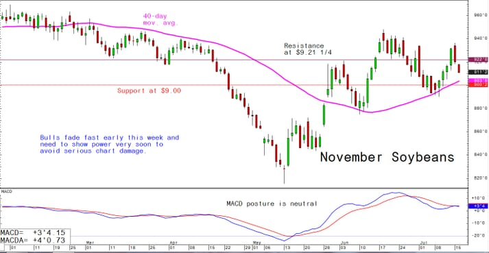 Bulls fade fast early this week and need to show power very soon to avoid serious chart damage
