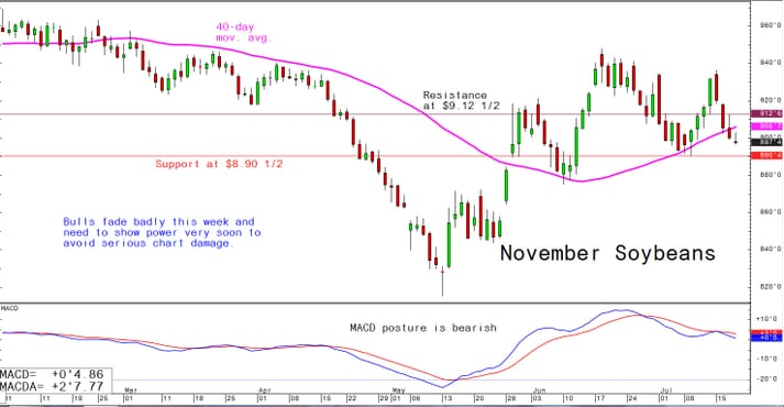 Bulls fade badly this week and need to show power very soon to avoid serious chart damage