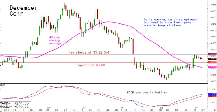 Bulls working on price uptrend but need to show fresh power soon to keep it alive