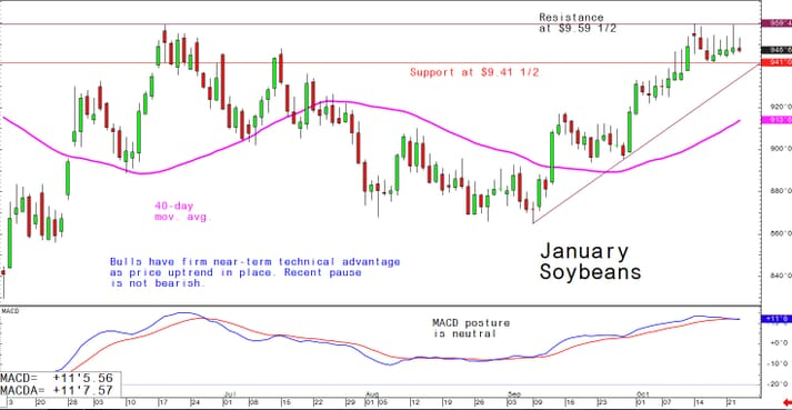 Bulls have near-term technical advantage as price uptrend in place; recent pause is not bearish