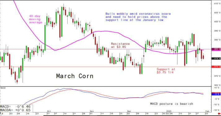 Bulls wobbly amid coronavirus scare and need to hold prices above the support line at the January low