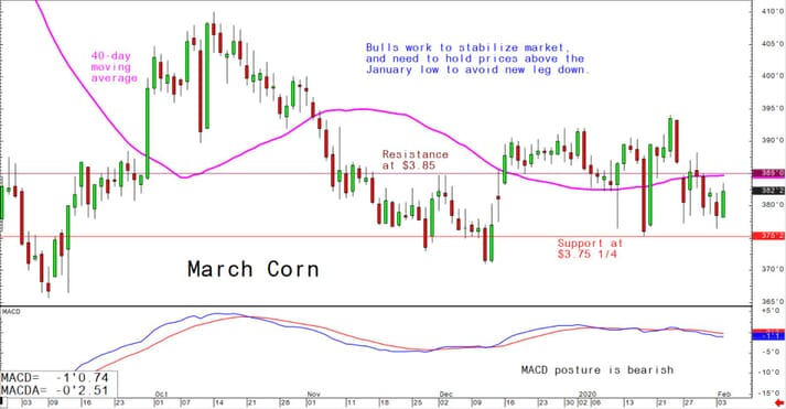 Bulls work to stabilize market and need to hold prices above the January low to avoid new leg down