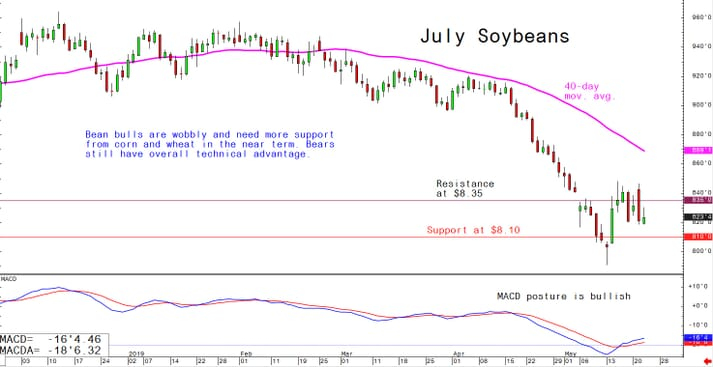 Bean bulls are wobbly and need more support from corn and wheat in the near term; bears still have overall technical advantage