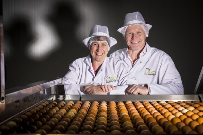 Helen and David Brass at Lakes Free Range Egg Company