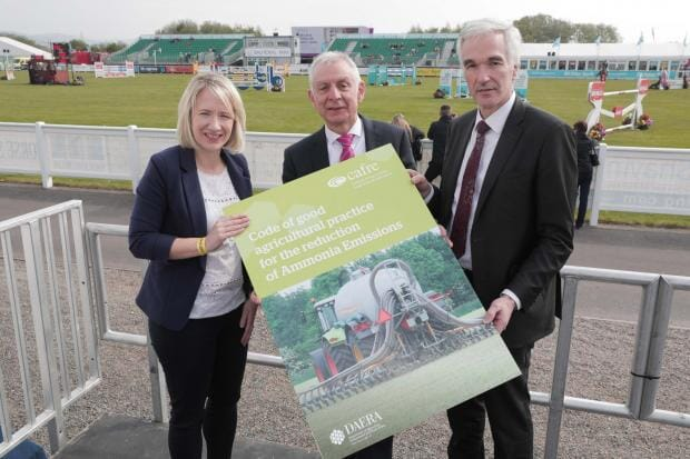 Launching the Code at Balmoral Show are (from left to right) Aileen Lawson, UFU senior policy officer; Robin Irvine, Northern Ireland Grain Trade Association; Norman Fultion, DAERA