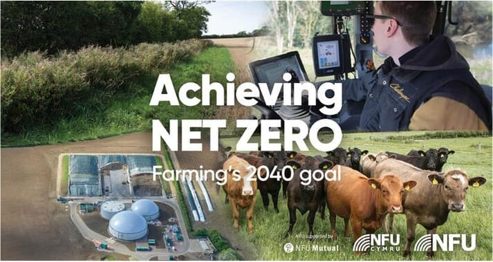 "an advertisement showing cows, a man in a tractor, and a farm from birds-eye view with the text ""Achieving net zero: farming's 2040 goal"""