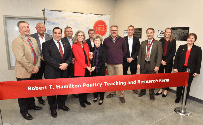 Shown dedicating the Robert T. Hamilton Poultry Teaching and Research Farm, from left to right: