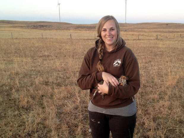 Jocelyn Harrison conducts greater prairie-chicken research in the Sandhills of Nebraska.