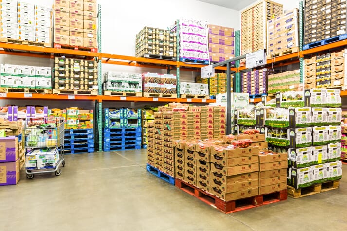 stockpile of food in cold storage