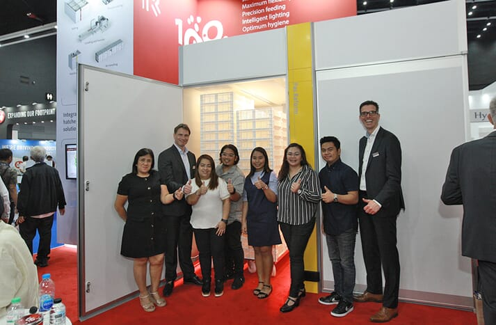 Mrs Rosemarie R Astorga (left), president of Filtration Systems Inc, and FSI team delegates were joined by Bas Kanters, Director of Pas Reform Asia (second left) and Harm Langen, Pas Reform CEO (far right) at VIV Asia last month