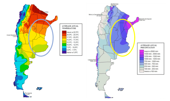 Annual climatic conditions in Argentina (the areas marked with a circle indicate the main poultry-producing areas in the country)