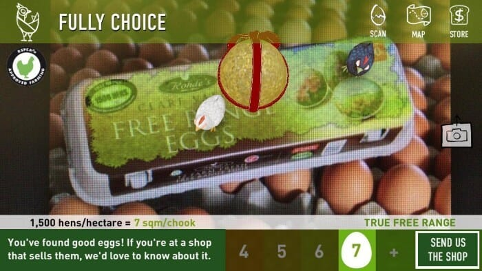 an egg carton viewed through an augmented reality app shows information about where the eggs came from and how well the hens were treated