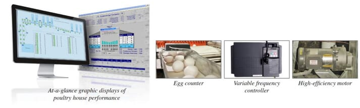 a computer displays a graph alongside an image of eggs and some other devices