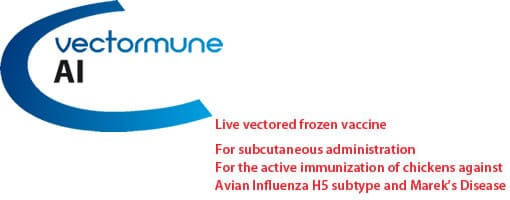 VECTORMUNE ® AI: Live vectored frozen vaccine. For the active immunization of chickens against Avian Influenza H5 subtype and Marek's Disease.