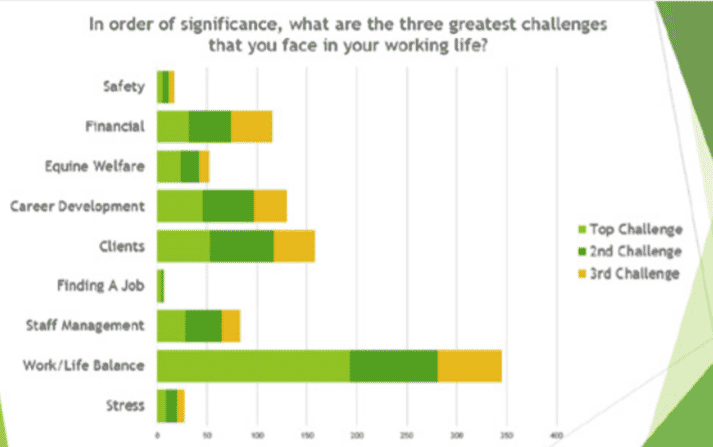 FIGURE 1 Responses from BEVA members to the question: 'In order of significance, what are the three greatest challenges that you face in your working life?'