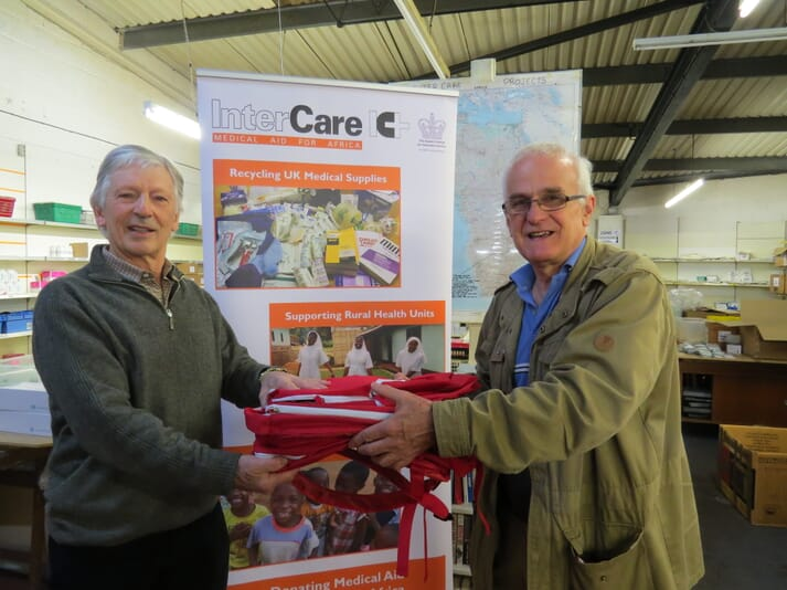 Richard Davies of the Malawi Association for Christian Support handed the donated rucksacks to Inter Care